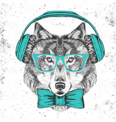 retro hipster animal wolf with headphones vector image vector image