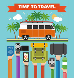 time to travel modern design flat with minibus vector image vector image