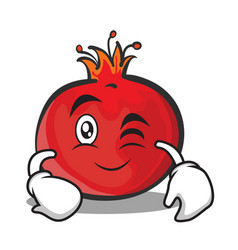 wink face pomegranate cartoon character style vector image