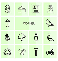 14 worker icons vector