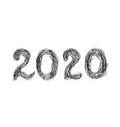 2020 hand drawn lettering for new year and vector image