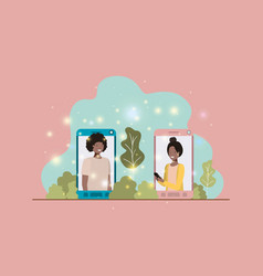 afro couple in smartphone on landscape vector image