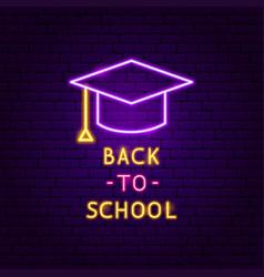 back to school neon label vector image