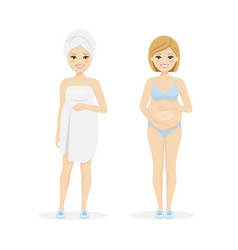 Beautiful pregnant woman in underwear and after vector