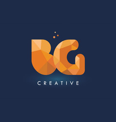 bg letter with origami triangles logo creative vector image