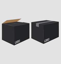 Black cardboard close box side view package vector