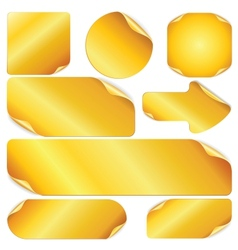 Blank Golden Stickers Notes Labels Set of Design vector image