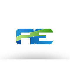 Blue green re r e alphabet letter logo vector