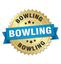 bowling round isolated gold badge vector image