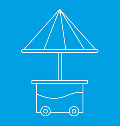 Cart with umbrella icon outline style vector