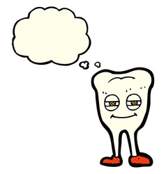 Cartoon smiling tooth with thought bubble vector