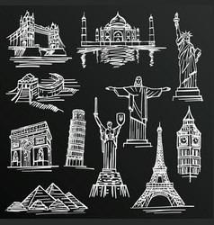 chalkboard sketch of hand drawn tourist places vector image
