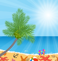 Coconut trees on the beach and sun shining vector