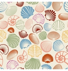 Colorful sea shells seamless pattern vector