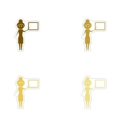 Concept paper stickers on white background woman vector