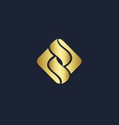 Curve s initial monogram abstract square logo vector