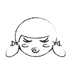 cute face kokeshi sketch vector image