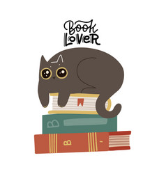 cute funny cat luing on book stack with quote vector image