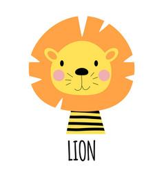 Cute little lion animal icon vector