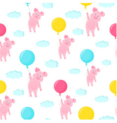 cute pig flying in the sky holding the balloon vector image
