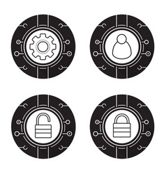 Cyber security icons set vector