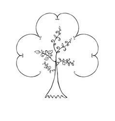 decorative tree hand-drawn on white background vector image
