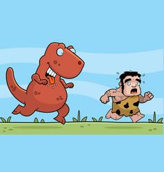 Dinosaur chasing vector