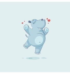 Emoji character cartoon Hippopotamus jumping for vector