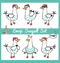 Emoji seagull set with lighthouse part 2 vector