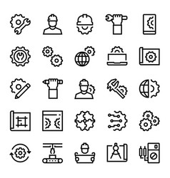 engineering and manufacturing icon set in thin vector image