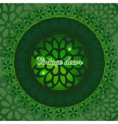 Ethnic decorative pattern in green vector