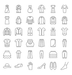 female clothes bag shoes and accessories thin vector image