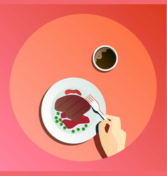 flat catering party with vector image