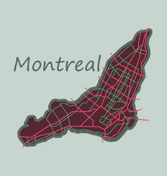 Flat map of montreal is a city of canada with vector