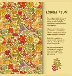 flat poster or banner template with autumn pattern vector image