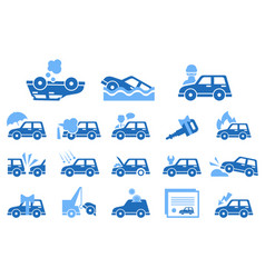 Flat set of icons on vehicle insurance vector