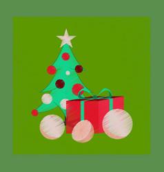 Flat shading style icon christmas tree orange gift vector