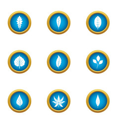 Frond icons set flat style vector