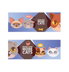 Funny cat faces banner ilustration cartoon vector