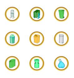 Garbage icon set cartoon style vector