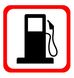 Gasoline pump nozzle signgas station icon flat vector