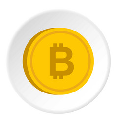 Gold coin with bitcoin sign icon circle vector