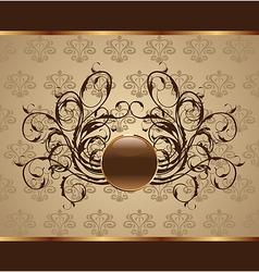 gold floral packing design element - vector image