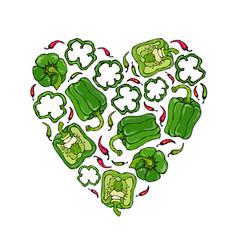 Green bell peper heart shape wreath half of sweet vector