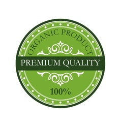 Green colored premium quality label vector image