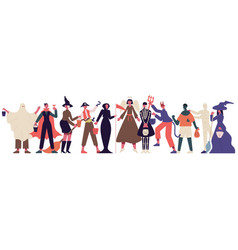 halloween party characters celebrating people vector image