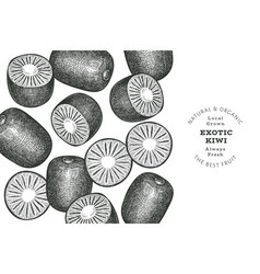 hand drawn sketch style kiwi banner organic fresh vector image