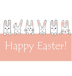 happy easter banner with bunny faces and paws vector image