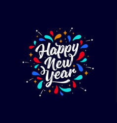 Happy new year lettering text for happy new year vector