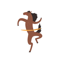 Horse spinning a hula hoop funny sportive wild vector